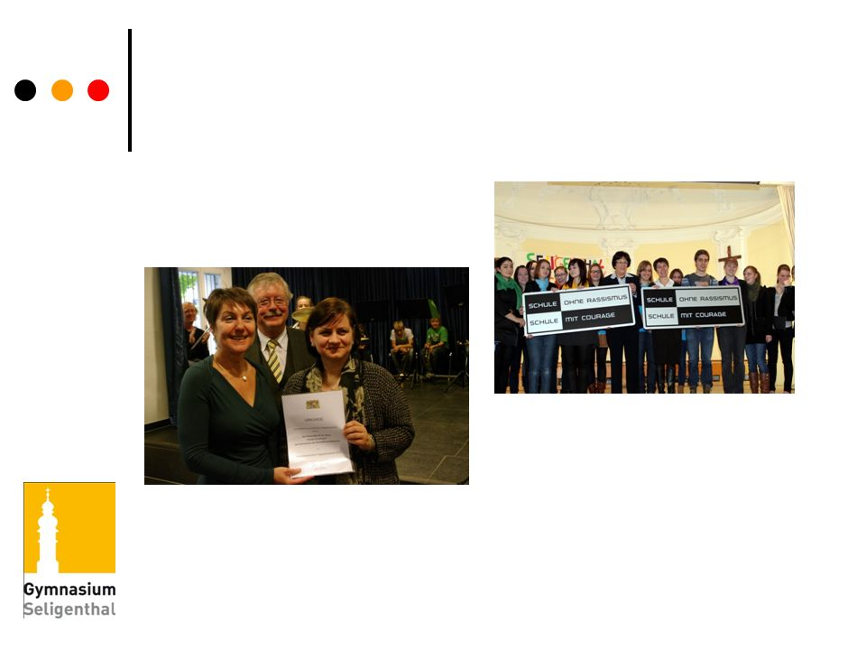 Für unseren Einsatz gegen Diskriminierung und Ausgrenzung erhielten wir die Auszeichnung. Schule ohne Rassismus – Schule mit Courage .
