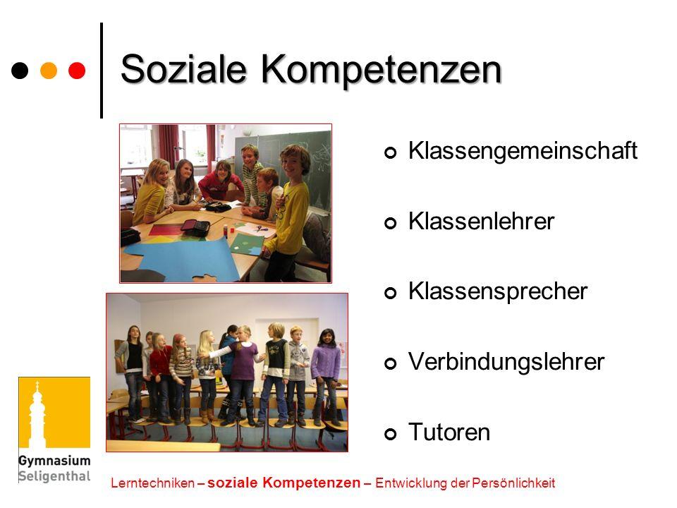 Soziale Kompetenzen Klassengemeinschaft Klassenlehrer Klassensprecher