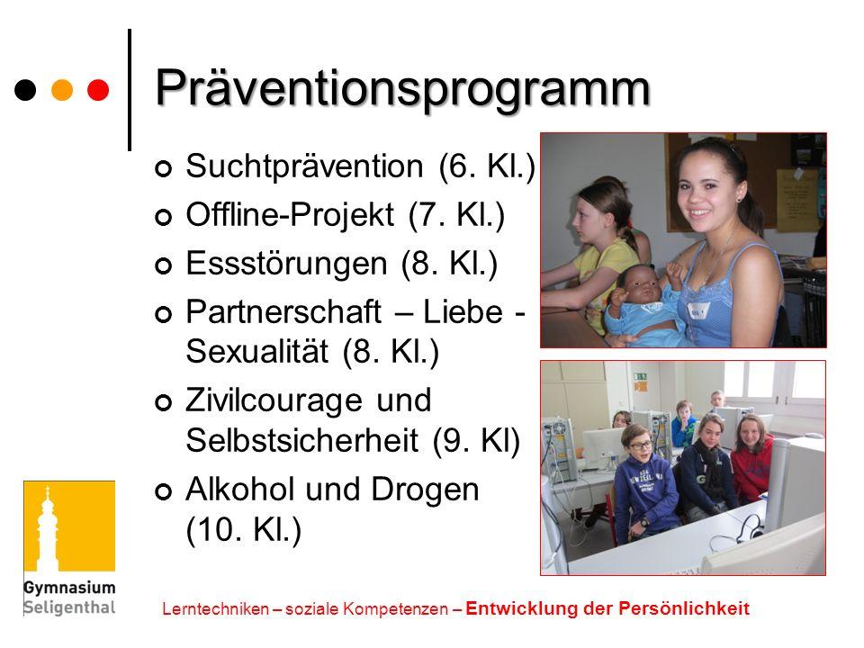 Präventionsprogramm Suchtprävention (6. Kl.) Offline-Projekt (7. Kl.)
