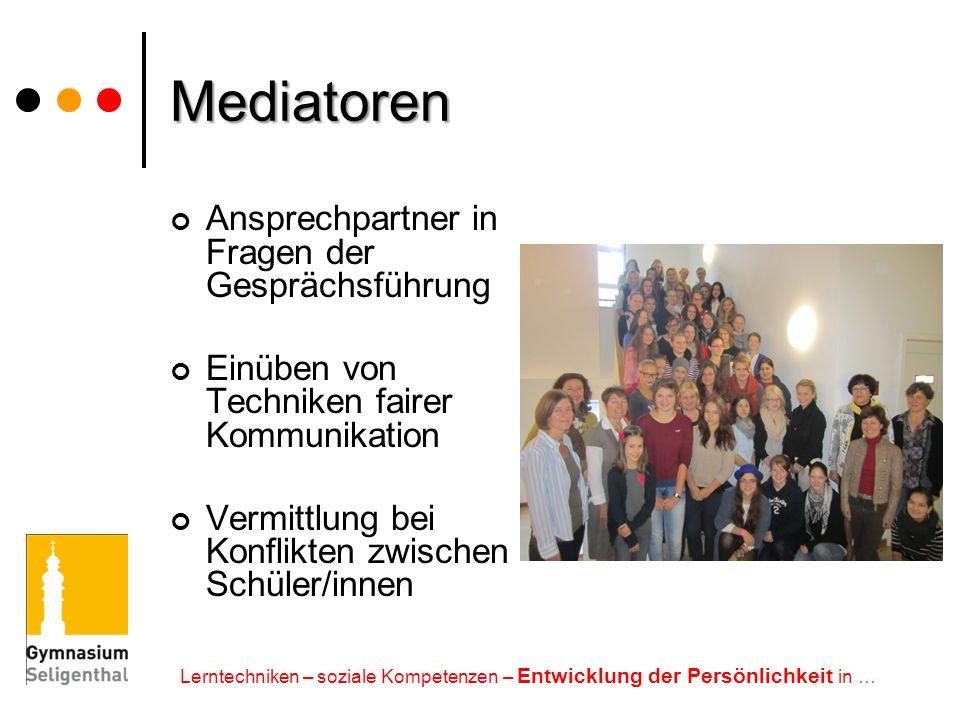 Mediatoren Ansprechpartner in Fragen der Gesprächsführung
