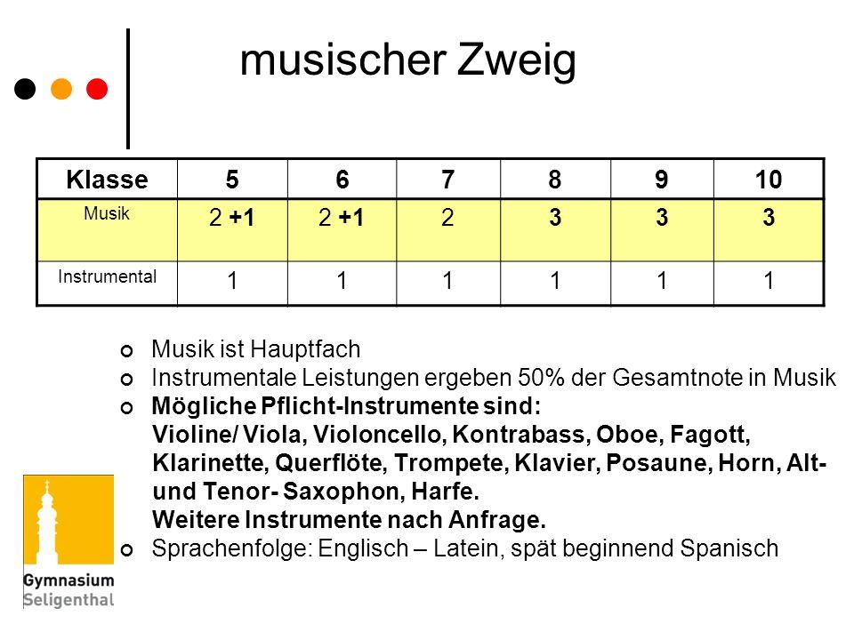 musischer Zweig Klasse 5 6 7 8 9 10 2 +1 2 3 1 Musik ist Hauptfach