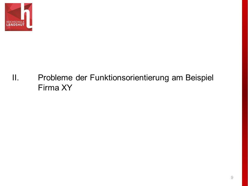 II. Probleme der Funktionsorientierung am Beispiel Firma XY