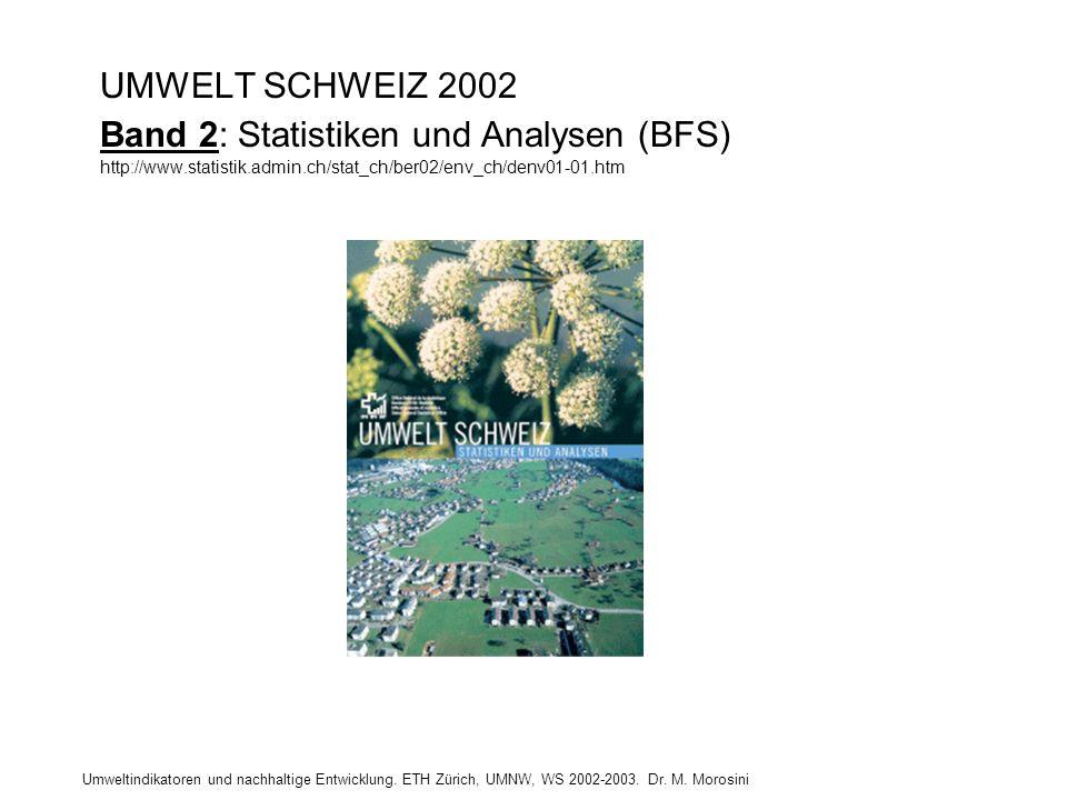UMWELT SCHWEIZ 2002 Band 2: Statistiken und Analysen (BFS) http://www