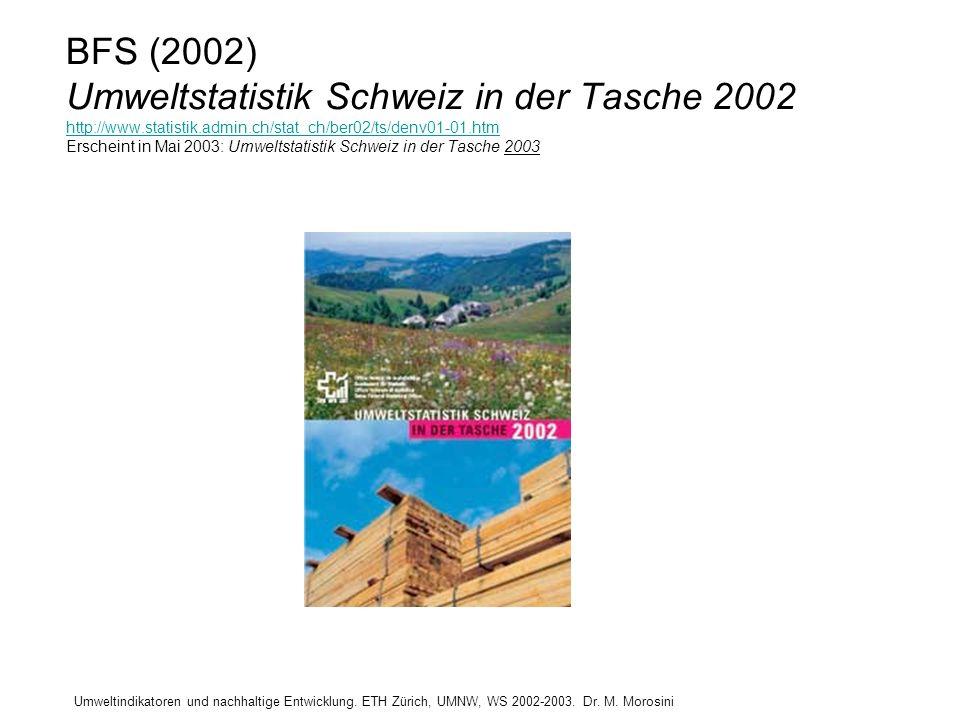 BFS (2002) Umweltstatistik Schweiz in der Tasche 2002 http://www