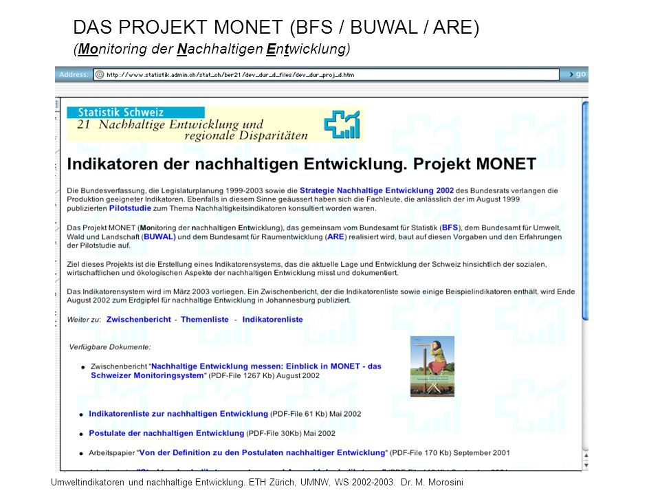 DAS PROJEKT MONET (BFS / BUWAL / ARE)