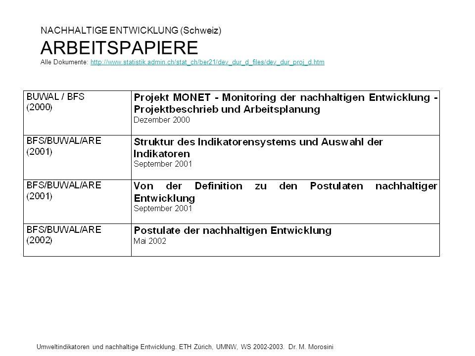 NACHHALTIGE ENTWICKLUNG (Schweiz) ARBEITSPAPIERE Alle Dokumente: http://www.statistik.admin.ch/stat_ch/ber21/dev_dur_d_files/dev_dur_proj_d.htm