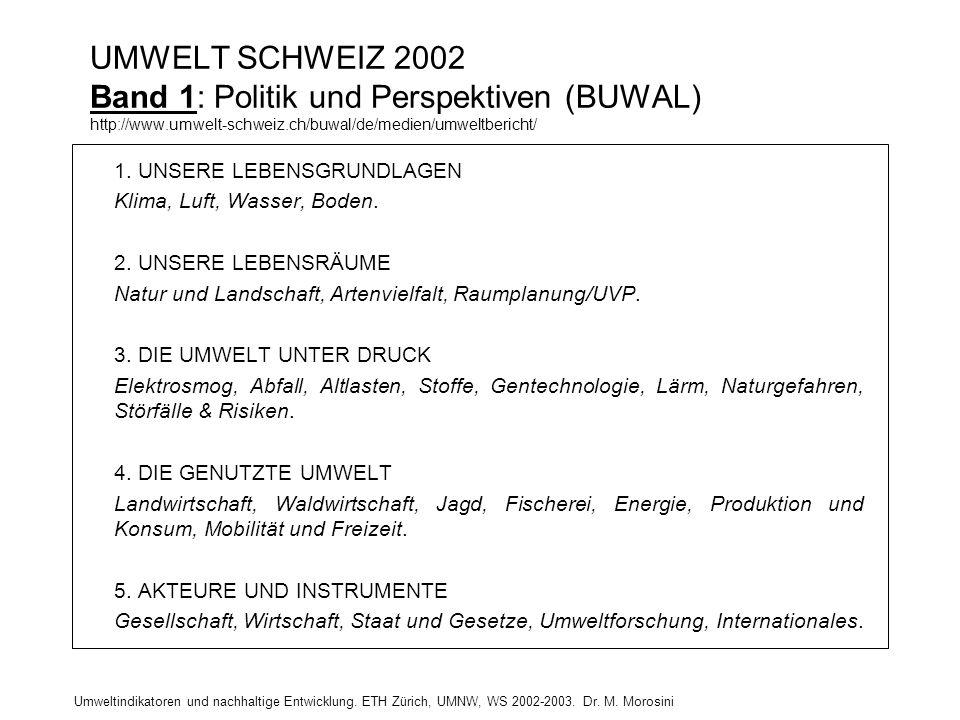 UMWELT SCHWEIZ 2002 Band 1: Politik und Perspektiven (BUWAL) http://www.umwelt-schweiz.ch/buwal/de/medien/umweltbericht/