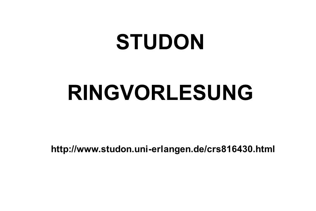 STUDON RINGVORLESUNG http://www.studon.uni-erlangen.de/crs816430.html