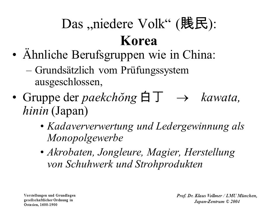 """Das """"niedere Volk (賎民): Korea"""