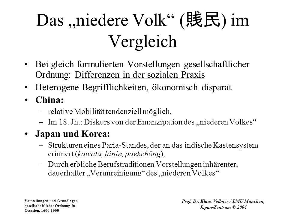 """Das """"niedere Volk (賎民) im Vergleich"""