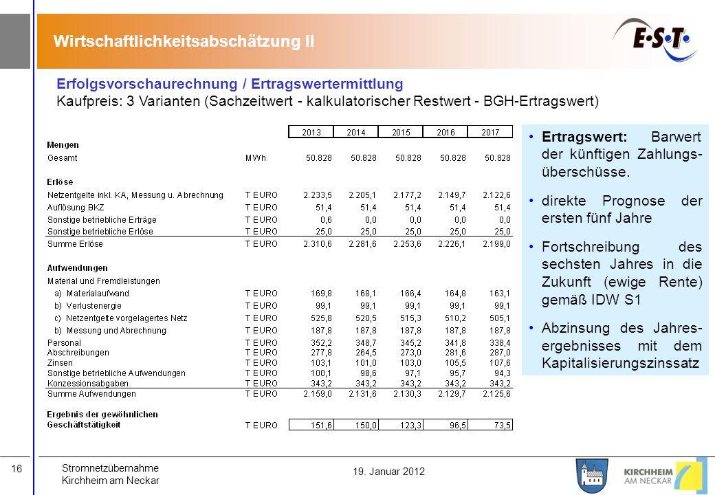 Wirtschaftlichkeitsabschätzung II