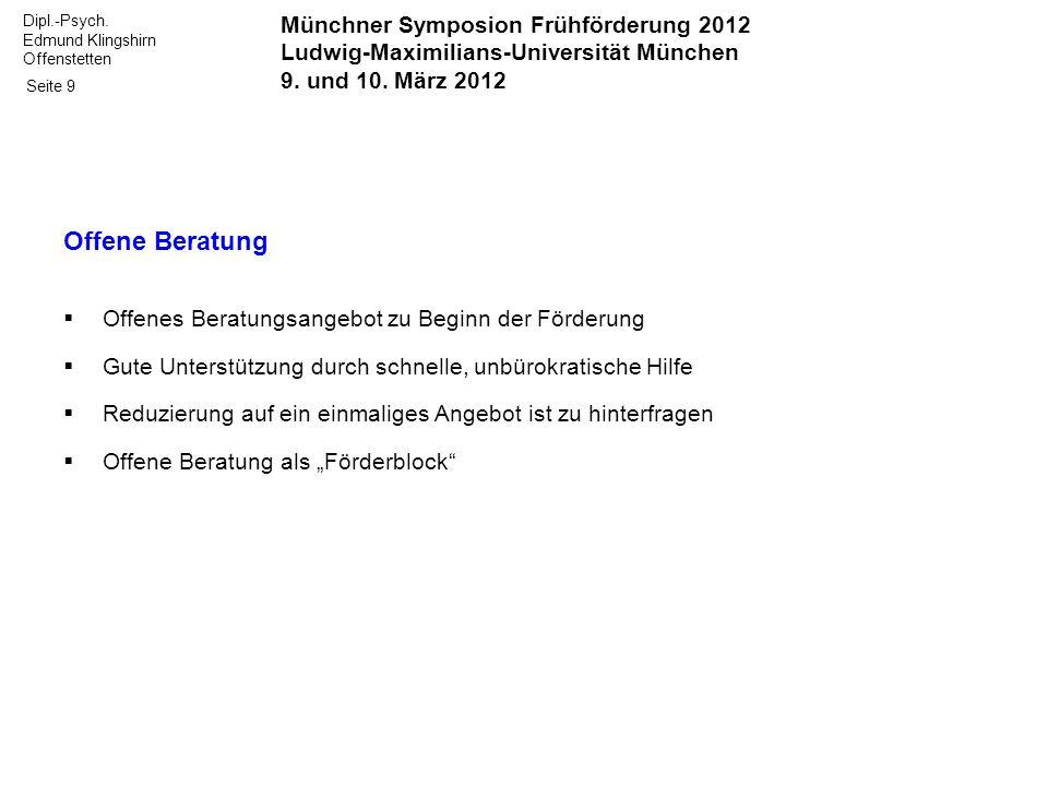 Offene Beratung Münchner Symposion Frühförderung 2012