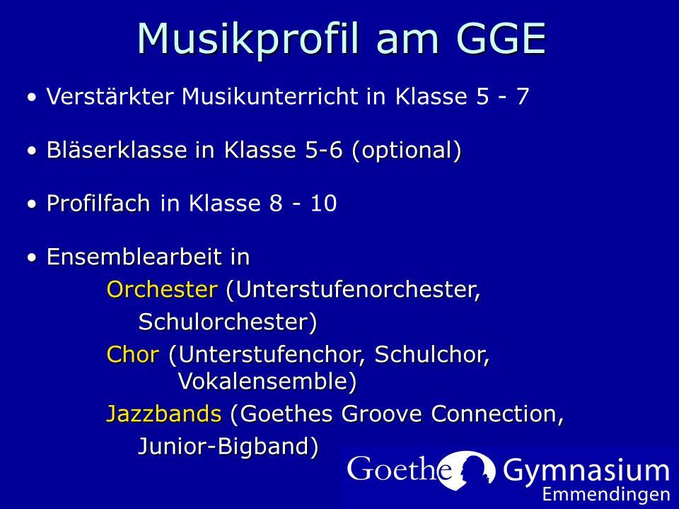 Musikprofil am GGE Verstärkter Musikunterricht in Klasse 5 - 7