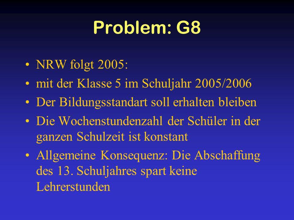 Problem: G8 NRW folgt 2005: mit der Klasse 5 im Schuljahr 2005/2006