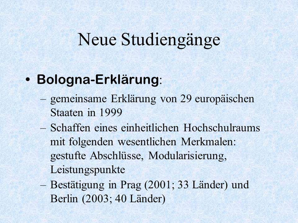 Neue Studiengänge Bologna-Erklärung: Akkreditierung: