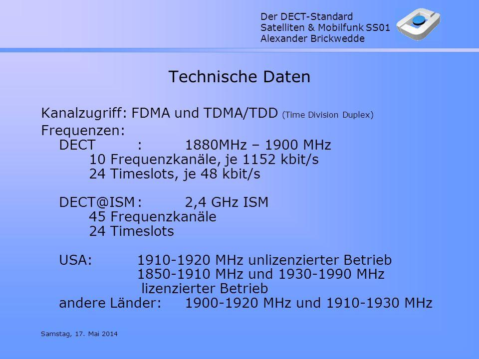 Technische Daten Kanalzugriff: FDMA und TDMA/TDD (Time Division Duplex)