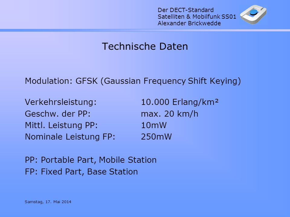 Technische Daten Modulation: GFSK (Gaussian Frequency Shift Keying)
