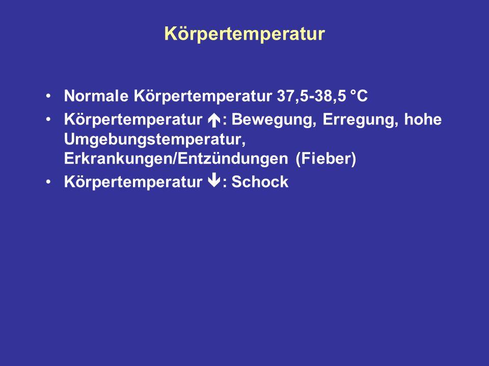 Körpertemperatur Normale Körpertemperatur 37,5-38,5 °C