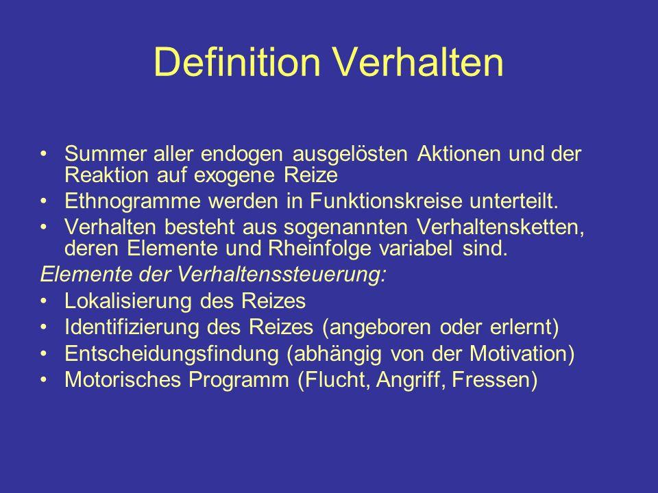 Definition Verhalten Summer aller endogen ausgelösten Aktionen und der Reaktion auf exogene Reize. Ethnogramme werden in Funktionskreise unterteilt.