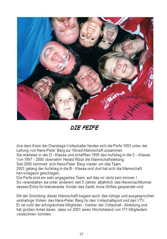 DIE PEIFE Aus dem Kreis der Dienstags-Volleyballer fanden sich die Peife 1993 unter der. Leitung von Hans-Peter Berg zur Mixed-Mannschaft zusammen.
