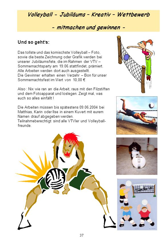 Volleyball - Jubiläums – Kreativ – Wettbewerb