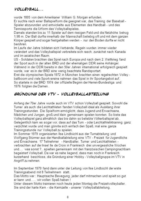 GRÜNDUNG DER VTV - VOLLEYBALLABTEILUNG