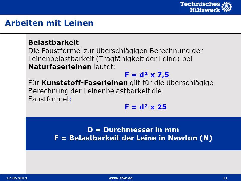 F = Belastbarkeit der Leine in Newton (N)