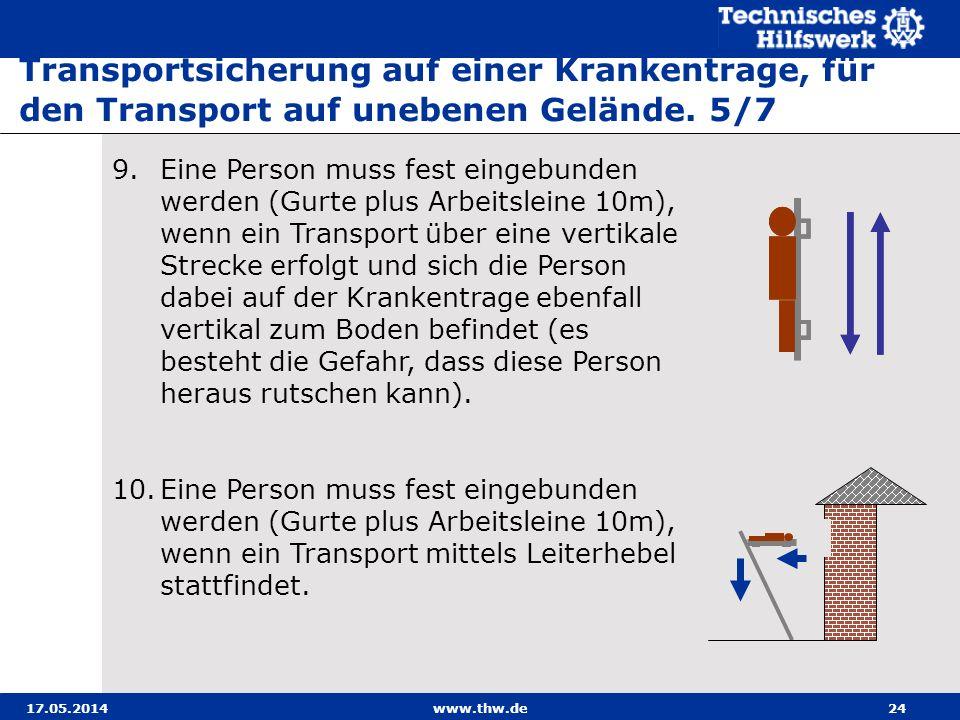Transportsicherung auf einer Krankentrage, für den Transport auf unebenen Gelände. 5/7