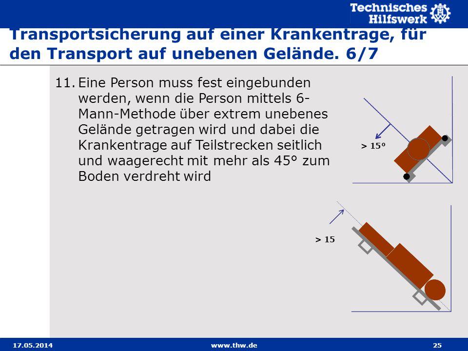 Transportsicherung auf einer Krankentrage, für den Transport auf unebenen Gelände. 6/7