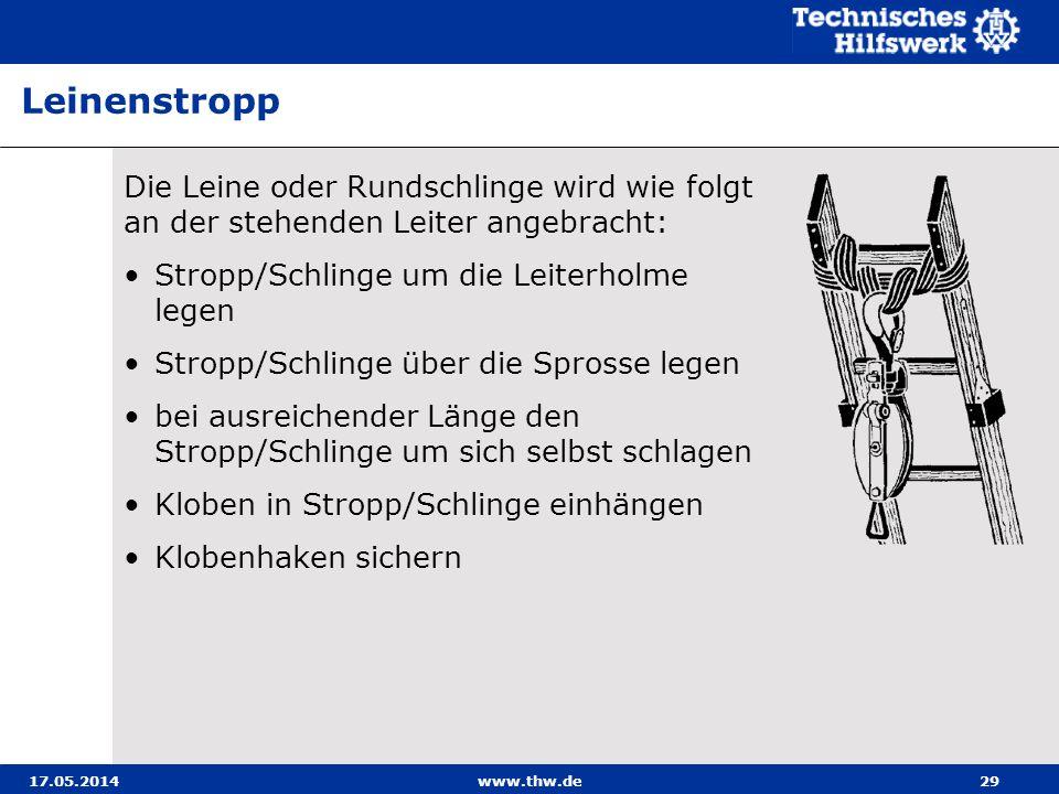 Leinenstropp Die Leine oder Rundschlinge wird wie folgt an der stehenden Leiter angebracht: Stropp/Schlinge um die Leiterholme legen.