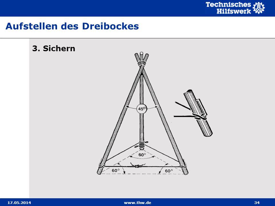 Aufstellen des Dreibockes