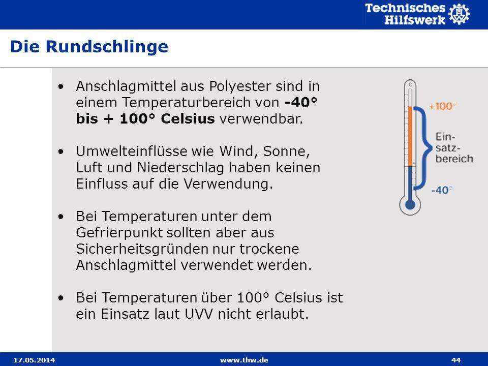 Die Rundschlinge Anschlagmittel aus Polyester sind in einem Temperaturbereich von -40° bis + 100° Celsius verwendbar.