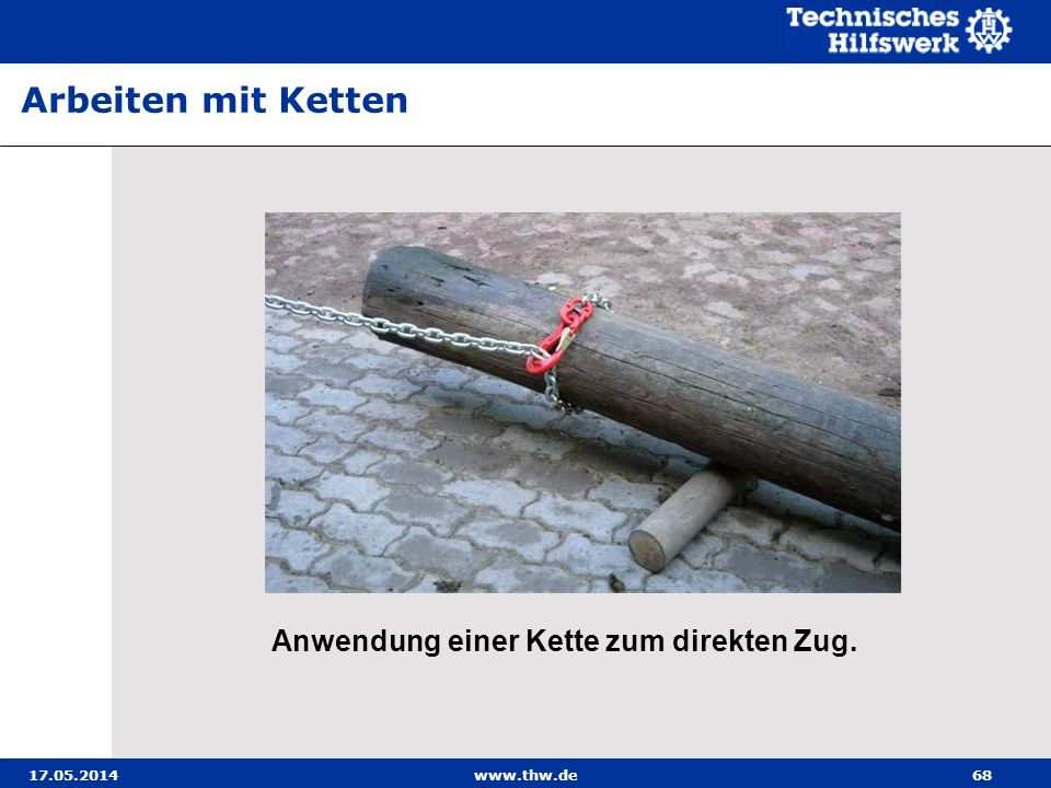 Arbeiten mit Ketten Anwendung einer Kette zum direkten Zug. 31.03.2017