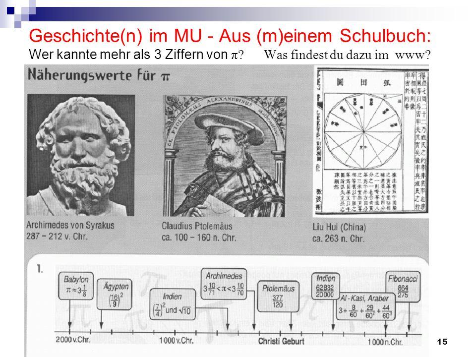 Geschichte(n) im MU - Aus (m)einem Schulbuch: Wer kannte mehr als 3 Ziffern von π Was findest du dazu im www