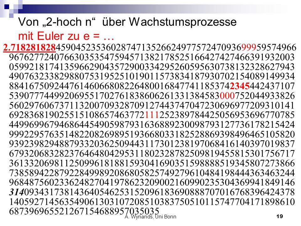 """Von """"2-hoch n über Wachstumsprozesse mit Euler zu e = …"""