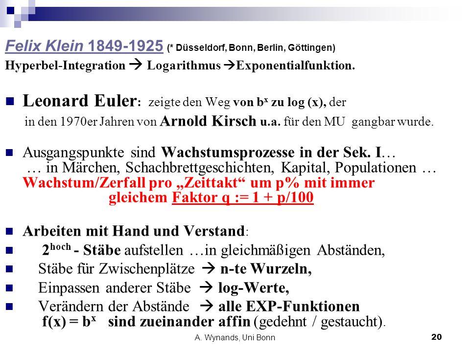 Leonard Euler: zeigte den Weg von bx zu log (x), der