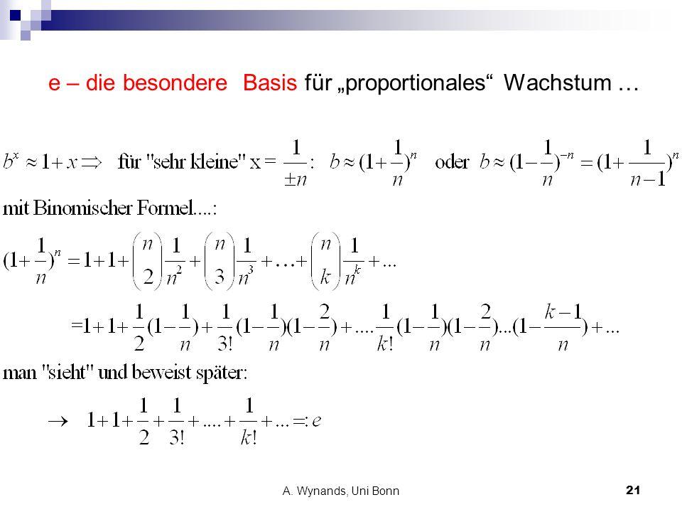 """e – die besondere Basis für """"proportionales Wachstum …"""