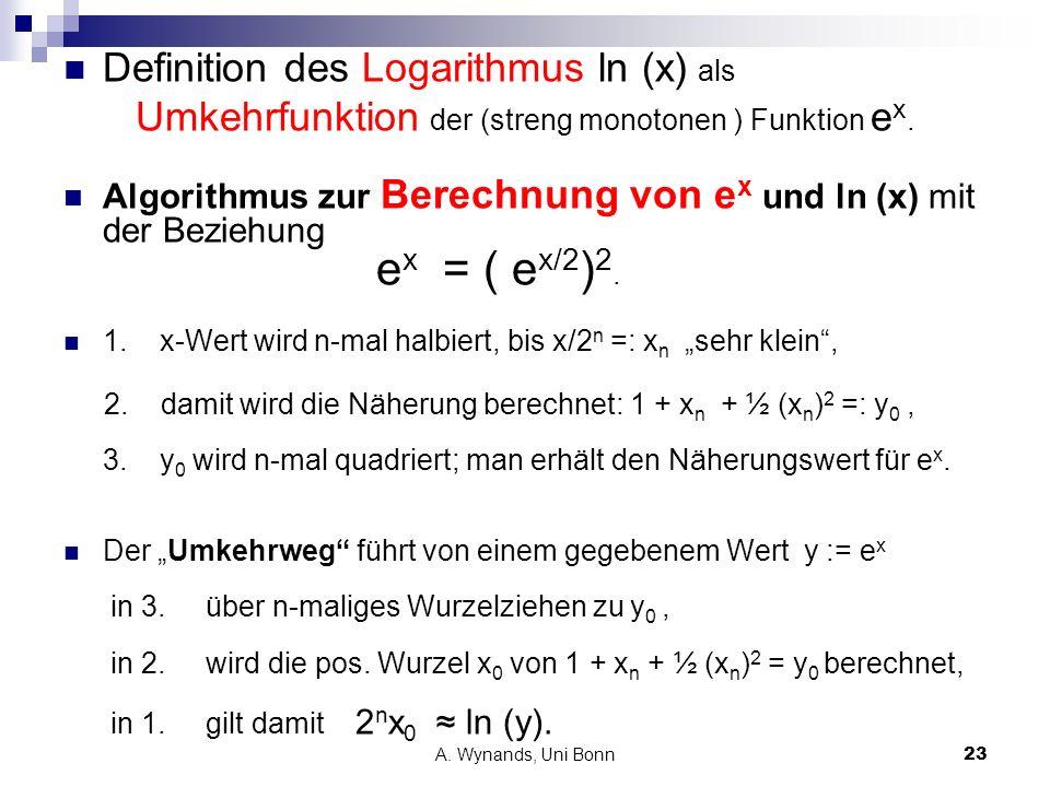 Definition des Logarithmus ln (x) als