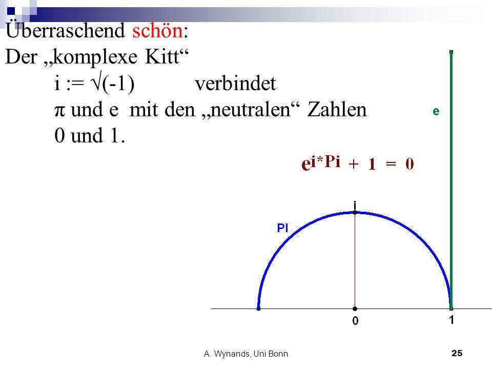 """Überraschend schön: Der """"komplexe Kitt i := √(-1) verbindet π und e mit den """"neutralen Zahlen 0 und 1."""
