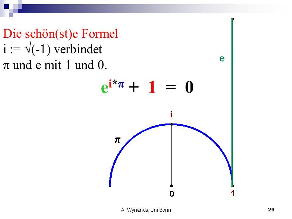 Die schön(st)e Formel i := √(-1) verbindet π und e mit 1 und 0.