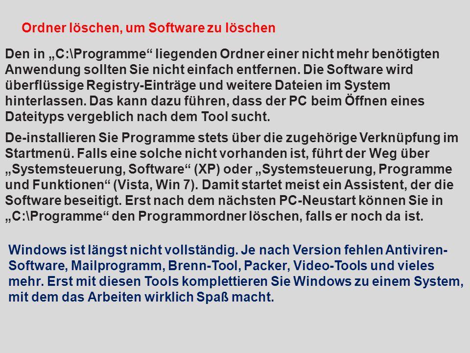 Ordner löschen, um Software zu löschen
