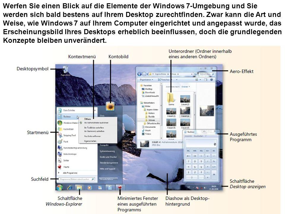 Werfen Sie einen Blick auf die Elemente der Windows 7-Umgebung und Sie werden sich bald bestens auf Ihrem Desktop zurechtfinden. Zwar kann die Art und Weise, wie Windows 7 auf Ihrem Computer eingerichtet und angepasst wurde, das Erscheinungsbild Ihres Desktops erheblich beeinflussen, doch die grundlegenden