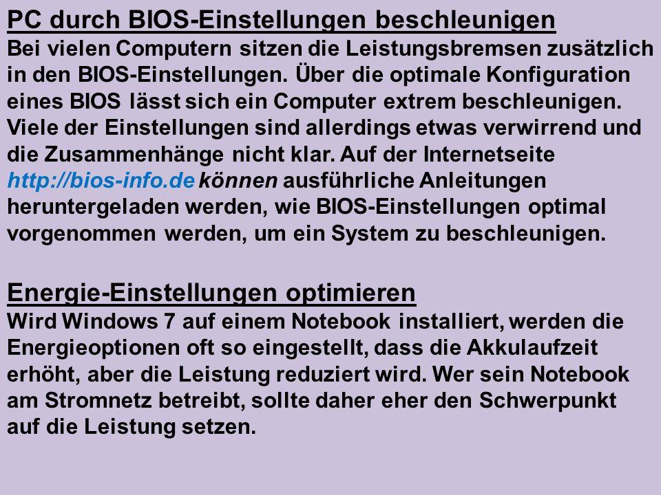 PC durch BIOS-Einstellungen beschleunigen