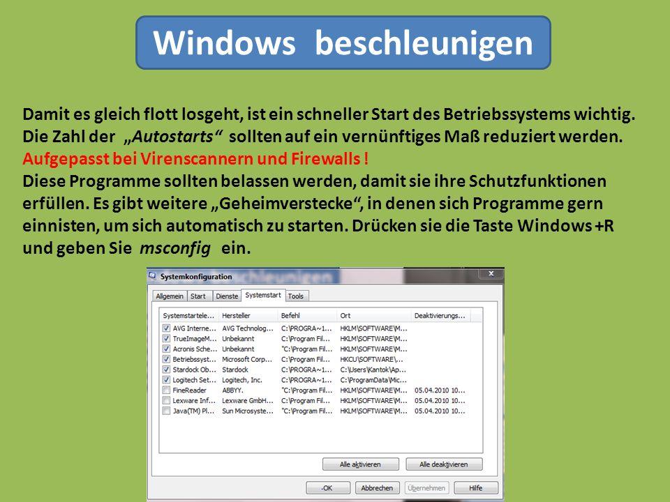 Windows beschleunigen