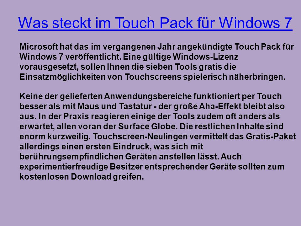 Was steckt im Touch Pack für Windows 7