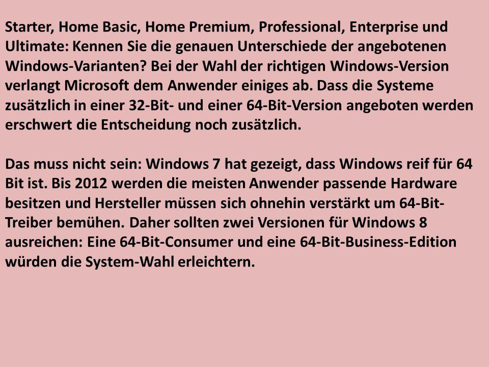 Starter, Home Basic, Home Premium, Professional, Enterprise und Ultimate: Kennen Sie die genauen Unterschiede der angebotenen Windows-Varianten.