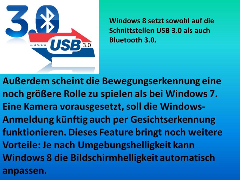 Windows 8 setzt sowohl auf die Schnittstellen USB 3