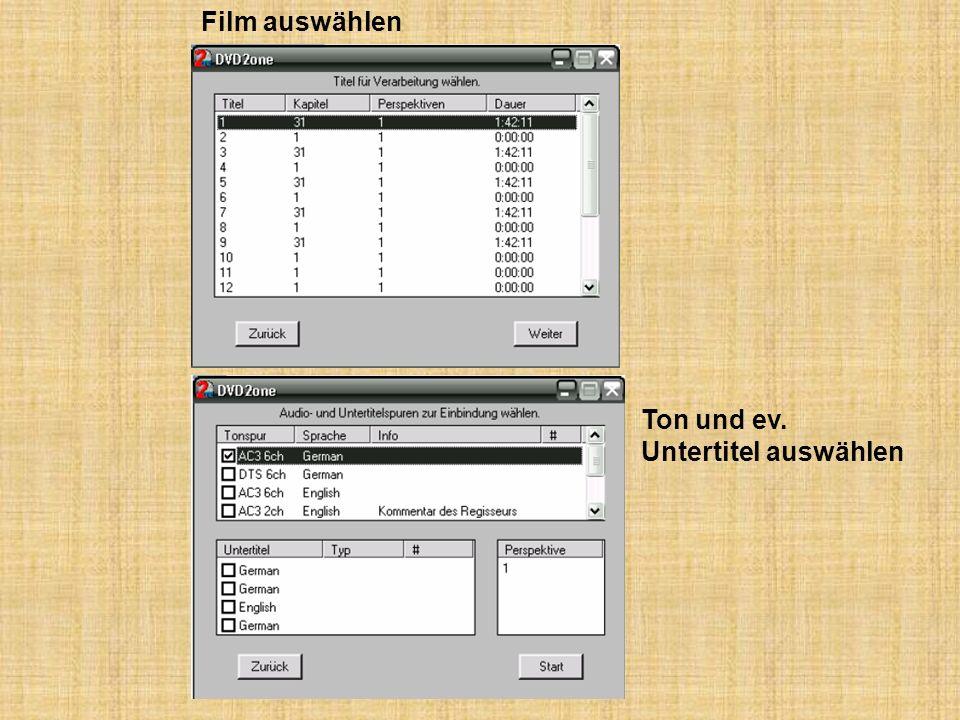 Film auswählen Ton und ev. Untertitel auswählen