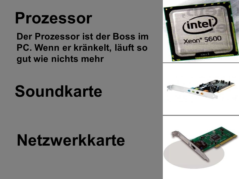 Prozessor Soundkarte Netzwerkkarte