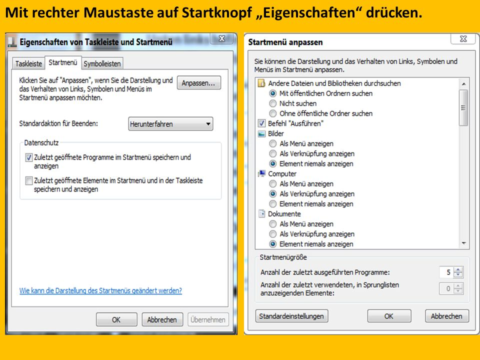 """Mit rechter Maustaste auf Startknopf """"Eigenschaften drücken."""